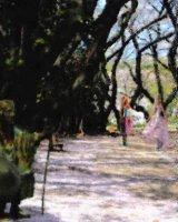 Poet Matsuo Bashyou is admiring cherry blossom trees