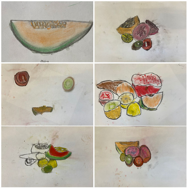 fruit drawings collage 2