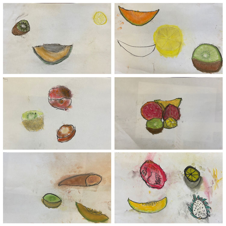 fruit drawings collage 3