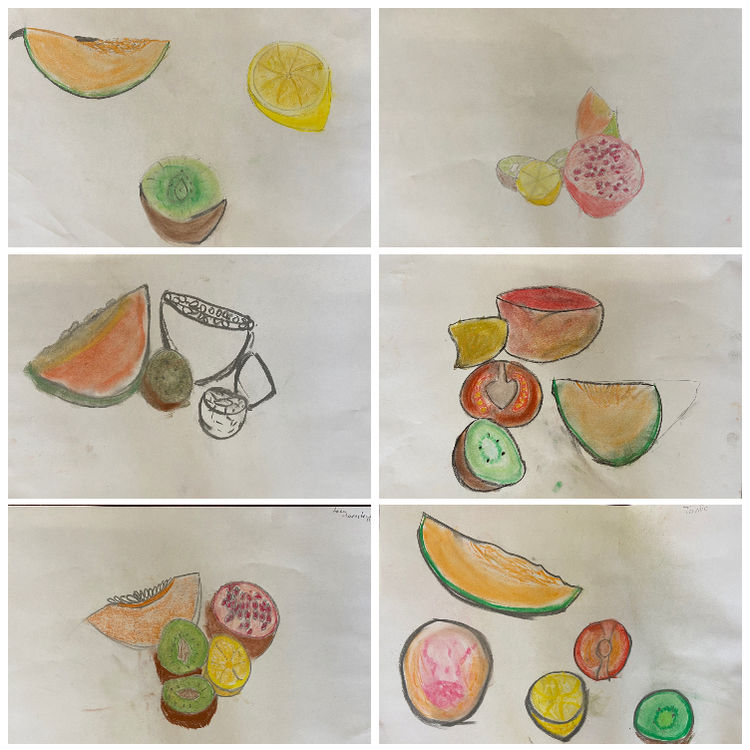 fruit drawings collage 1