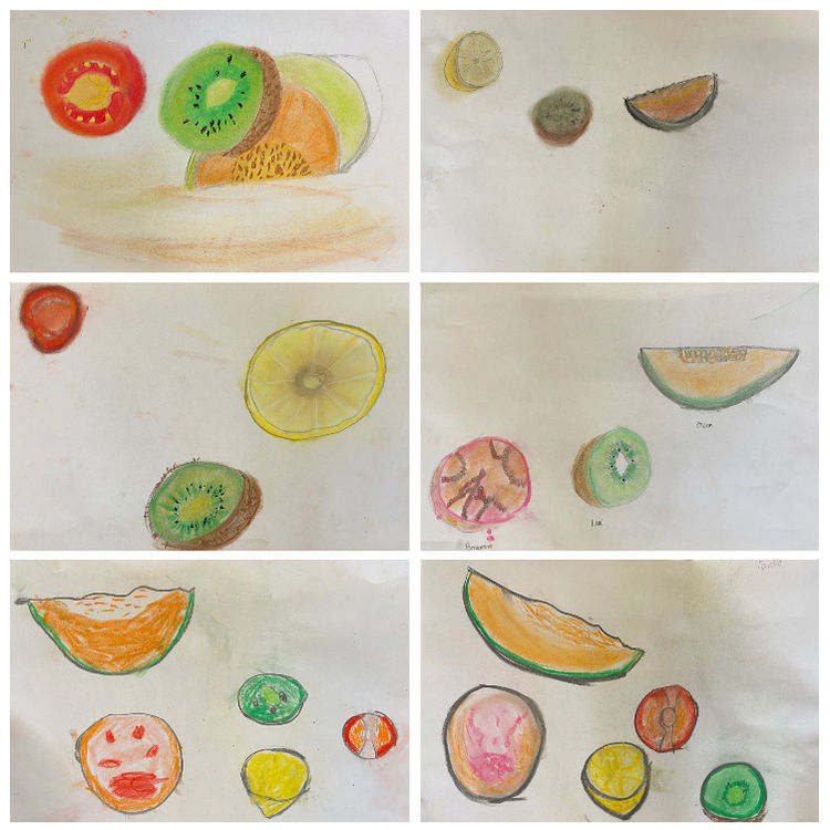 fruit drawings collage 4