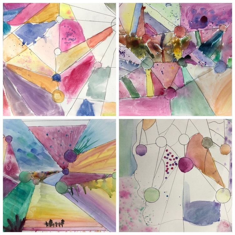 Kandinsky inspired watercolours collage