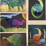 soft pastel dinosaurs