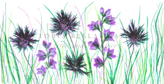 'Eryngium with Bellflower' Original tissue paper collage on paper. Professionally Framed. SOLD