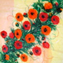 'Poppy Trail' Original Framed Tissue Paper Collage .SOLD.