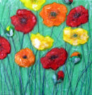 'Shiny Happy Poppies' Original Tissue Paper Collage On Canvas. SOLD