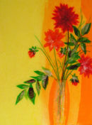 'Summer Dahlia Dazzle'  Original Framed Art Work. SOLD.