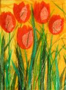 'Sunset Dancers' Original Tissue Paper Collage On Canvas. SOLD