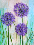 'Allium Adour' Original Tissue Paper Collage on canvas SOLD