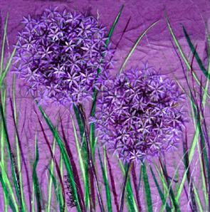 'Allium Always' Original Tissue Paper Collage On Canvas. SOLD