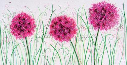 'Allium Bliss' Framed Original Tissue Paper Collage On Paper. Professionally Framed. SOLD