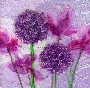 'Allium Dream' Original Tissue Paper Collage On Canvas. SOLD