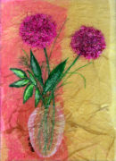'Allium Friends' Original Tissue Paper Collage. SOLD