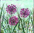 'Allium Joy,' Original tissue paper collage on canvas, SOLD.