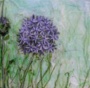 'Allium Love' Original Tissue Paper Collage On Canvas. SOLD