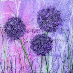 'Angela's Alliums' Original Tissue Paper Collage On Canvas. SOLD.