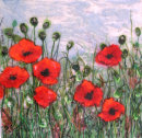 'A Poppy Day' Original Tissue Paper Collage on canvas. SOLD