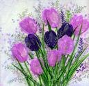 'A Tulip Treat,' Original tissue paper collage on canvas, SOLD.
