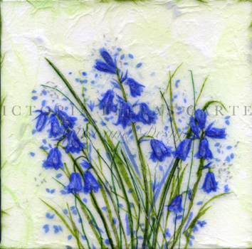 'Beau Bluebells,' Original tissue paper collage on canvas. SOLD