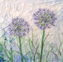'Delicately Allium' Original Tissue Paper Collage On Canvas. SOLD.