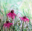 'Echinacea Breeze' Original Tissue Paper Collage On Canvas. SOLD
