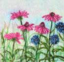 'Echinacea And Echinops' Original Tissue Paper Collage On Paper. SOLD