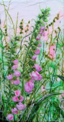 'Foxgloves With Love,' Original Tissue Paper Collage Canvas. SOLD