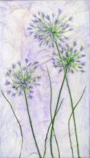 'Heather's Alliums' Original Tissue Paper Collage On Canvas. SOLD