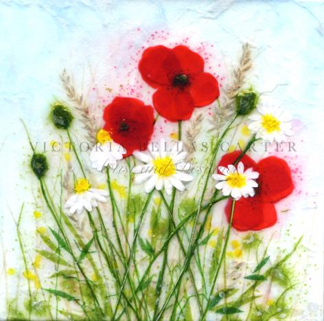 'Jollity,' Original tissue paper collage on canvas. SOLD