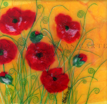'Jolly Poppy' Original Tissue Paper Collage On Canvas. SOLD