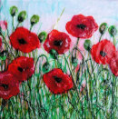 'Norfolk Poppies' Original Tissue Paper Collage On Canvas. SOLD