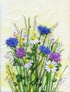'Ashgillside Cornflower Meadow,' Original tissue paper collage on canvas,' SOLD