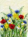 'Ashgillside Poppy Meadow,' Original tissue paper collage on canvas,' SOLD