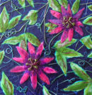 'Passion Flower Celebration' Original Tissue Paper Collage On Canvas. SOLD.