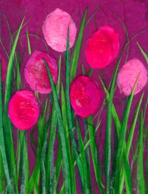 'Pink Diamonds' Original Tissue Paper Collage On Canvas. SOLD.