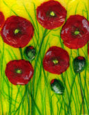 'Poppy Perfect' Original Tissue Paper Collage On Canvas. SOLD