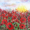 'Poppy Sunset,' Original Tissue Paper Collage. SOLD