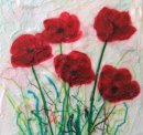 'Poppy Treat' Original Tissue Paper Collage On Canvas. SOLD.