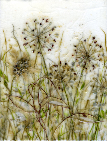 'Precious I,' Original tissue paper collage on canvas. SOLD
