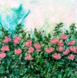 'Rose Garden' Original Tissue Paper Collage On Canvas. SOLD