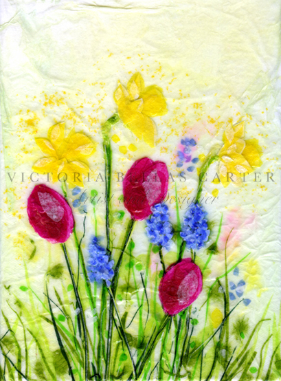 'Spring Joy,' Original tissue paper collage on canvas. Unframed price £65