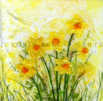 'Spring Smiles,' Original tissue paper collage on canvas. SOLD