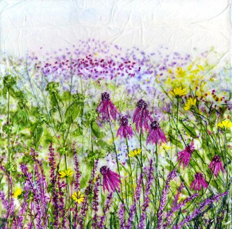 'Summer Mist,' Original tissue paper collage on canvas. SOLD