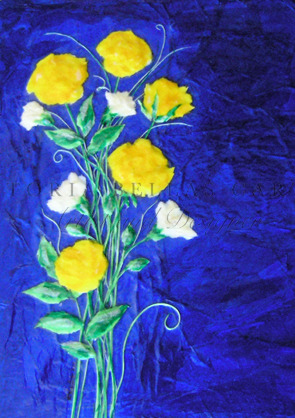 'Yellow Roses' Framed Original Tissue Paper Collage. SOLD.
