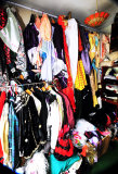 A corner of the costume room.  June has made over 100 outfits so far and going strong.