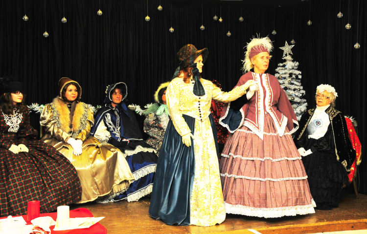 June introducing her costumes at Clydach (Dec 2013_