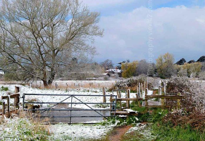 Fordingbridge New Forest print snow Burgate farmhouse