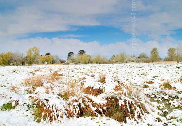 Fordingbridge New Forest print snow fields April