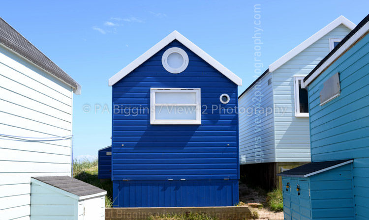 "Beach Huts in Blue, 16"" x 12"" incl. mount: £20"