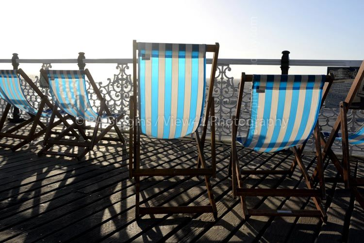 """Deck Chairs on Brighton Pier, 16"""" x 12"""" incl. mount: £20"""